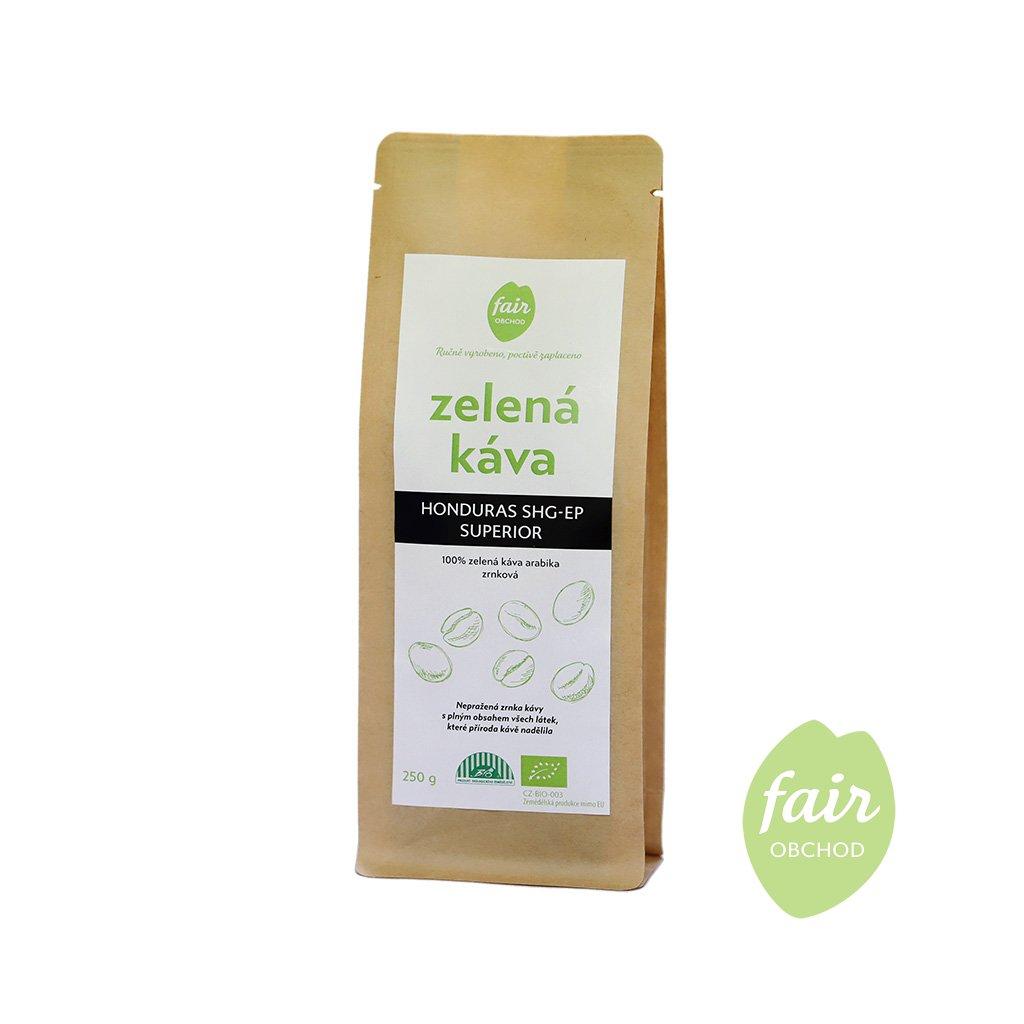 Fair trade bio zelená káva Honduras zrnková 250 g