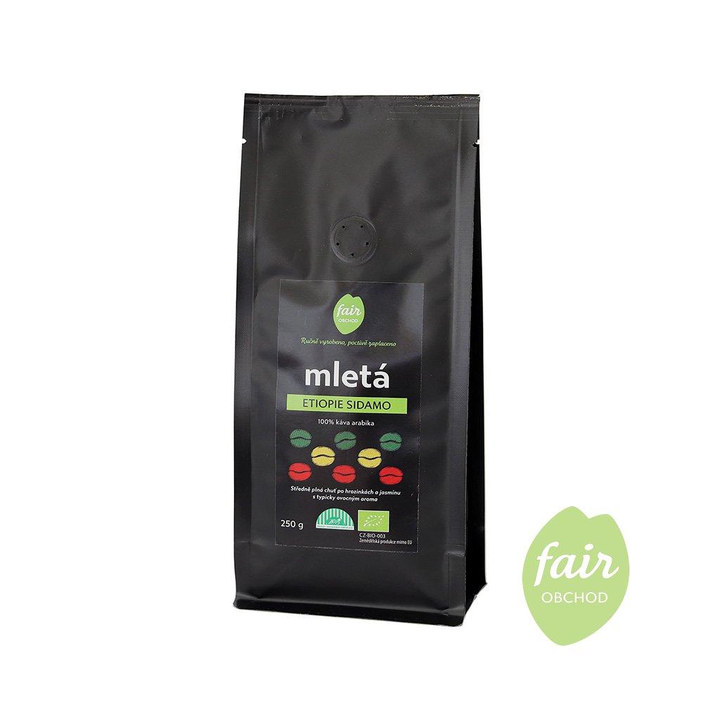 Fair trade bio mletá káva Etiopie Sidamo, 250 g