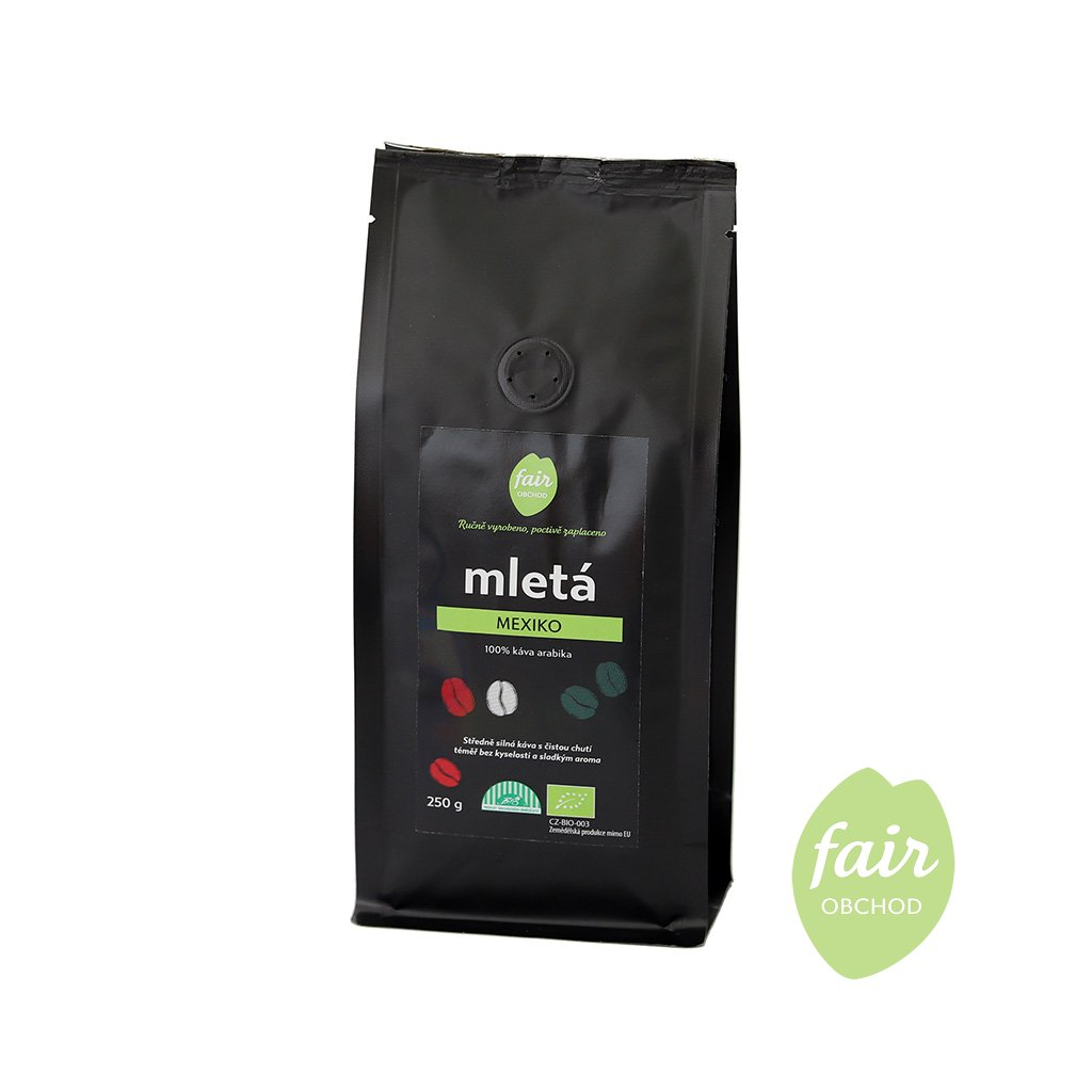 Fair trade bio mletá káva Mexiko, 250 g