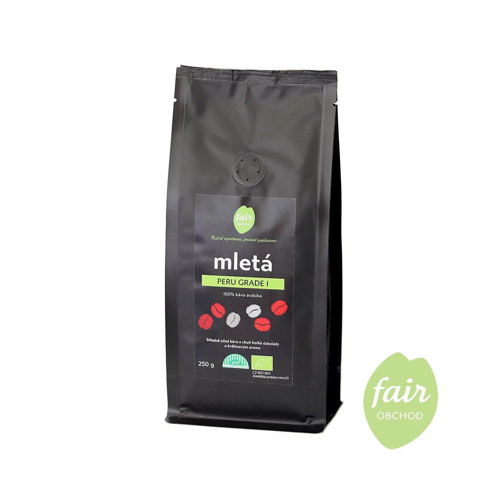 Fair trade bio mletá káva Peru Grade 1, 250 g