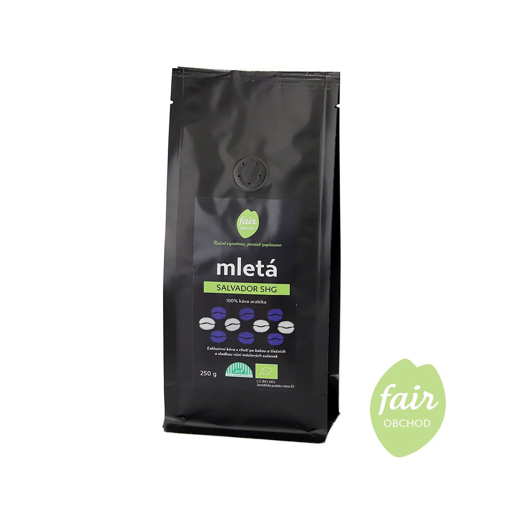 Fair trade bio mletá káva Salvador SHG, 250 g