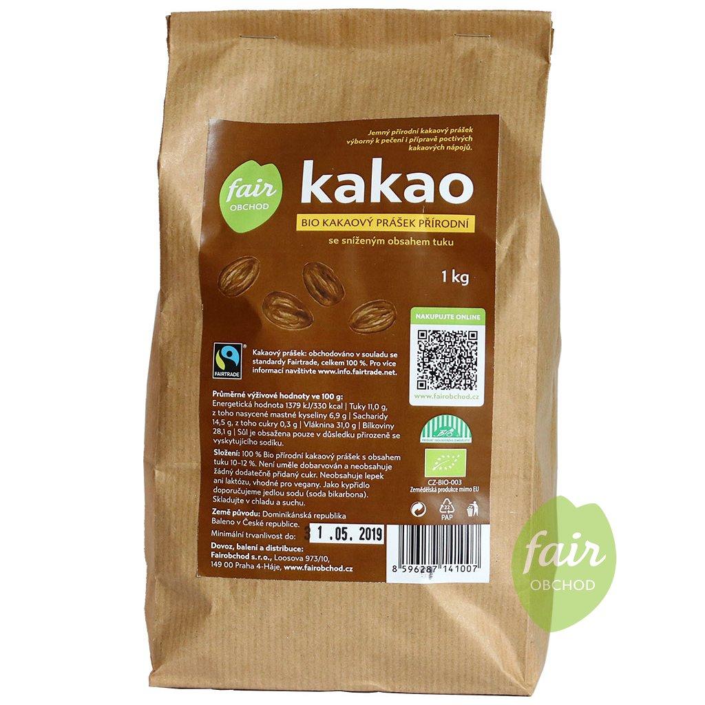 bio fairtrade kakaovy prasek prirodni snizeny obsah tuku 1000g