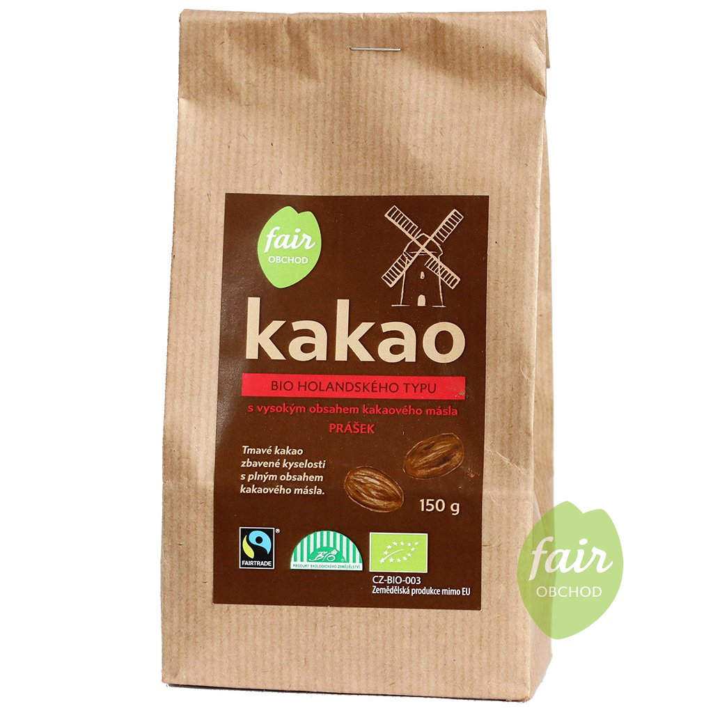 bio fairtrade kakaovy prasek tmavy plnotucny 150g