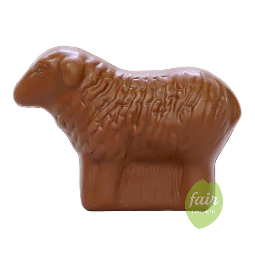 Fair trade bio velikonoční ovečka z mléčné čokolády 33 % kakaa