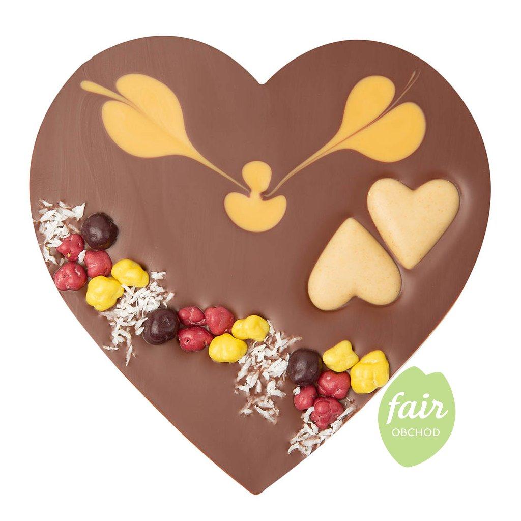 Fair trade bio srdce z mléčné čokolády s karamelovým nugátem Zotter