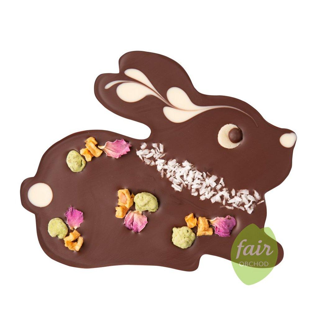 Fair trade bio velikonoční zajíček z hořké čokolády s lískovými oříšky, 100 g