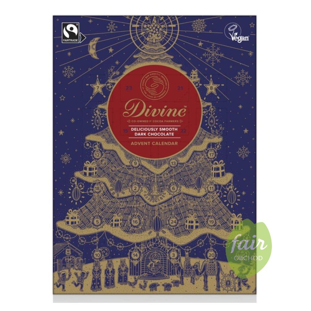Fairtrade adventní kalendář z hořké čokolády se 70 % kakaa