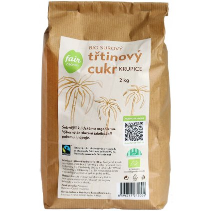 bio fairtrade trtinovy cukr 2000g