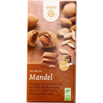 fair trade bio mlecna cokolada s mandlemi 38%