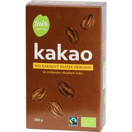 bio fairtrade kakaovy prasek prirodni snizeny obsah tuku 250g