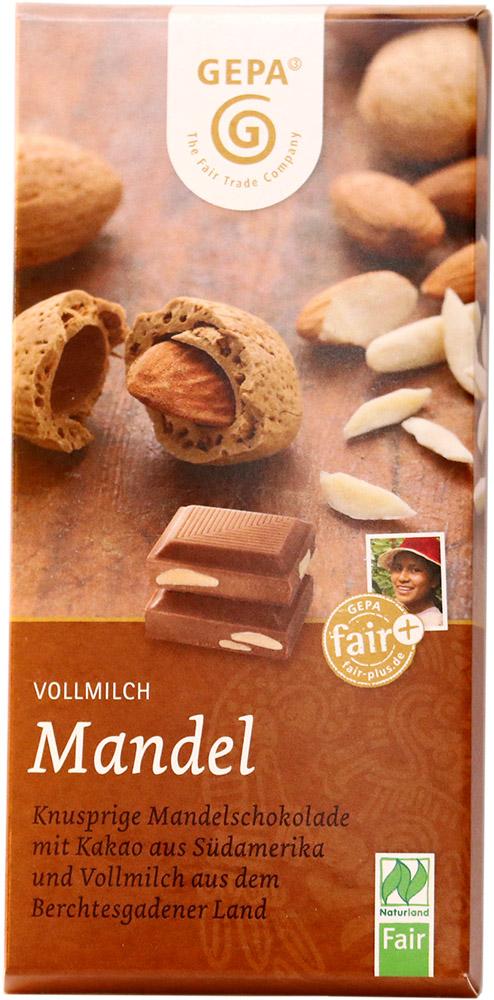 Gepa Bio mléčná čokoláda 38% s celými mandlemi, 100 g Fair Trade