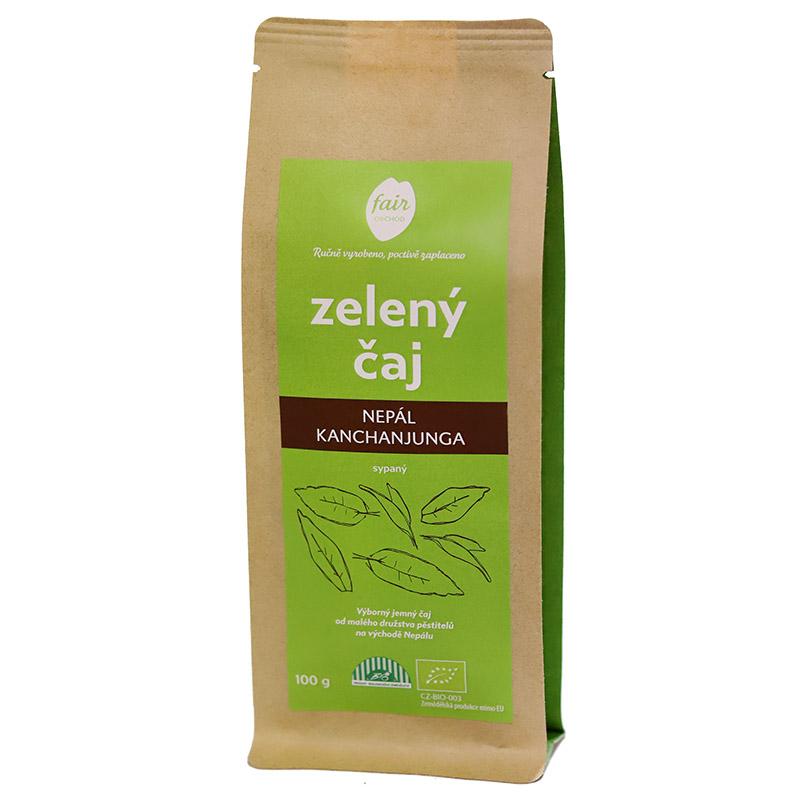 Fairobchod Bio sypaný zelený čaj Nepál Kanchanjunga, 100 g Fair Trade