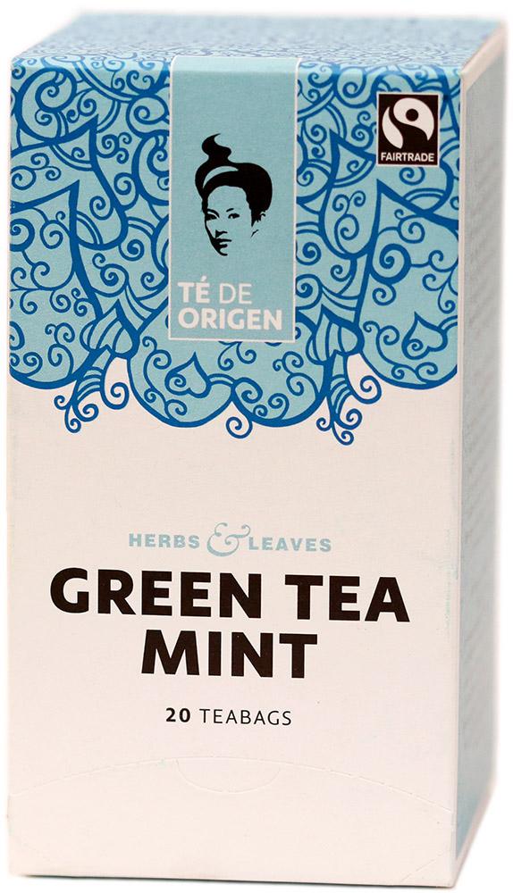 Té de Origen Bio porcovaný zelený čaj s mátou, 20x2 g Fairtrade