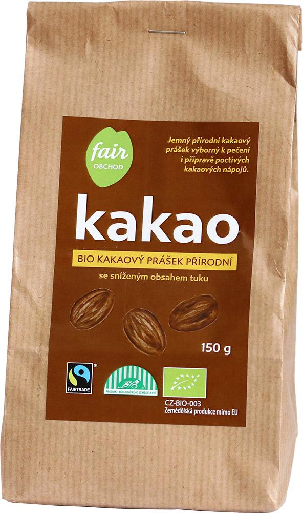 Bio kakaový prášek přírodní se sníženým obsahem tuku, 150 g fair trade