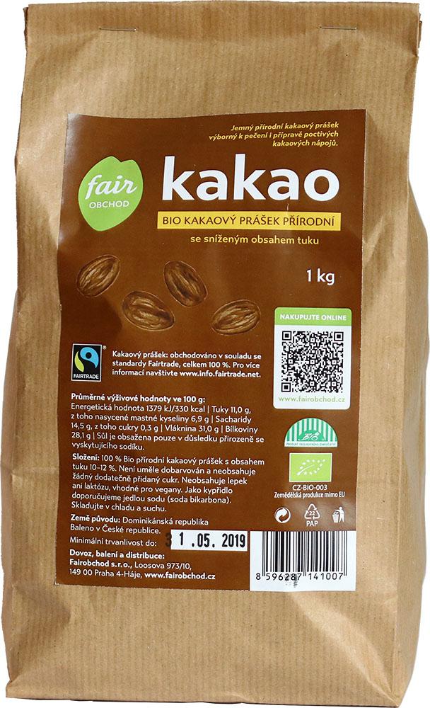 Bio kakaový prášek přírodní se sníženým obsahem tuku, 1 kg Fairtrade