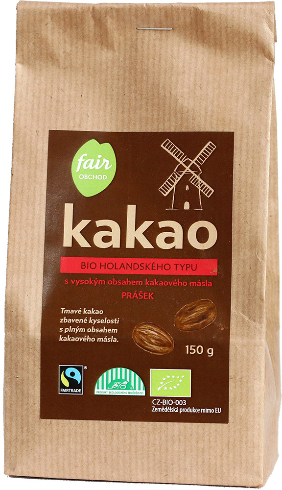 Fairobchod Bio kakaový prášek tmavý plnotučný, 150 g Fairtrade