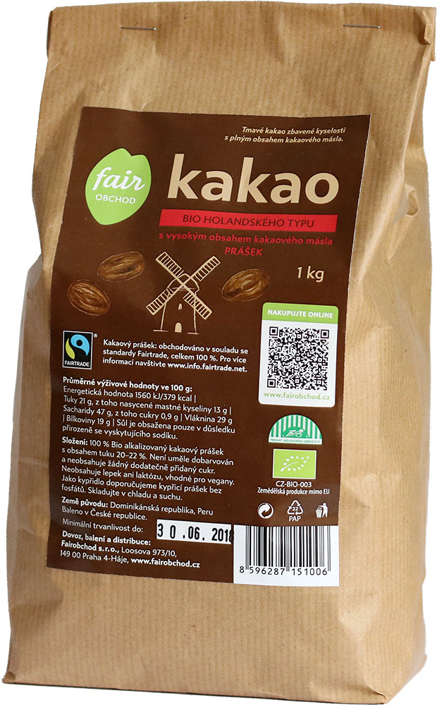 Fairobchod Bio kakaový prášek tmavý plnotučný, 1 kg Fairtrade