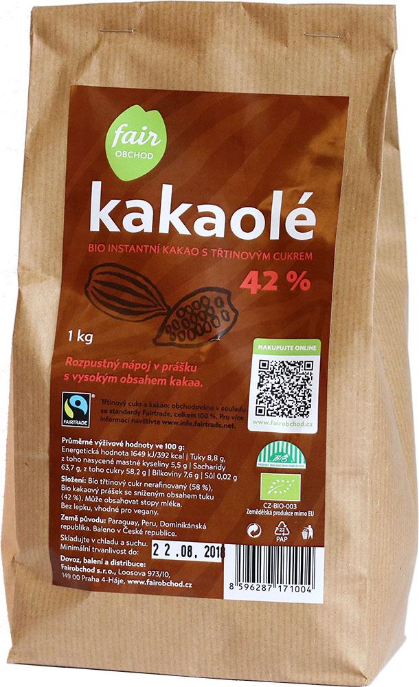 Fairobchod Bio instantní kakao Kakaolé 42%, 1 kg Fairtrade