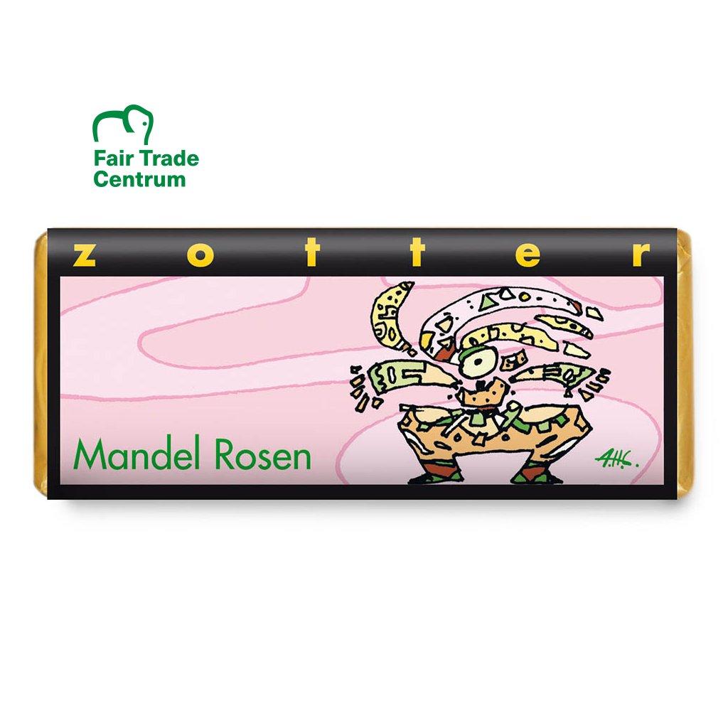 Ručně dělaná fair trade bio mléčná čokoláda Zotter Mandlové růže, 70 g