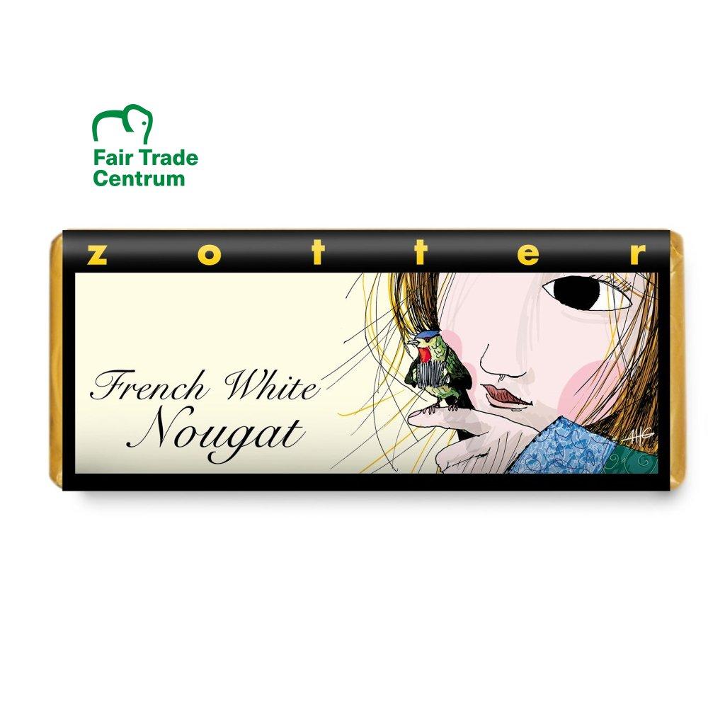 Fair trade bio mléčná čokoláda Zotter Francouzský bílý nugát, 70 g