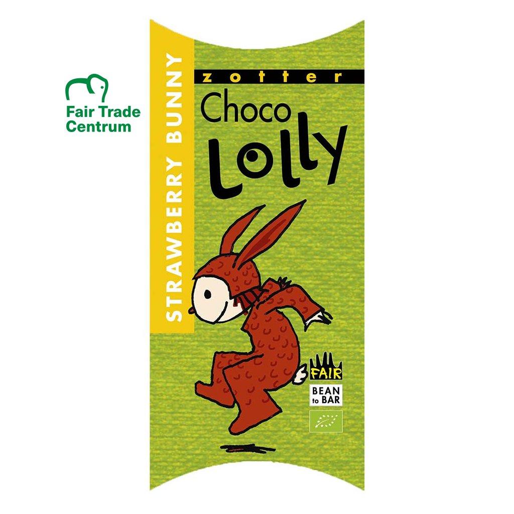 Fair trade bio čokoládové lízátko Zotter Lolly Jahodový zajíček
