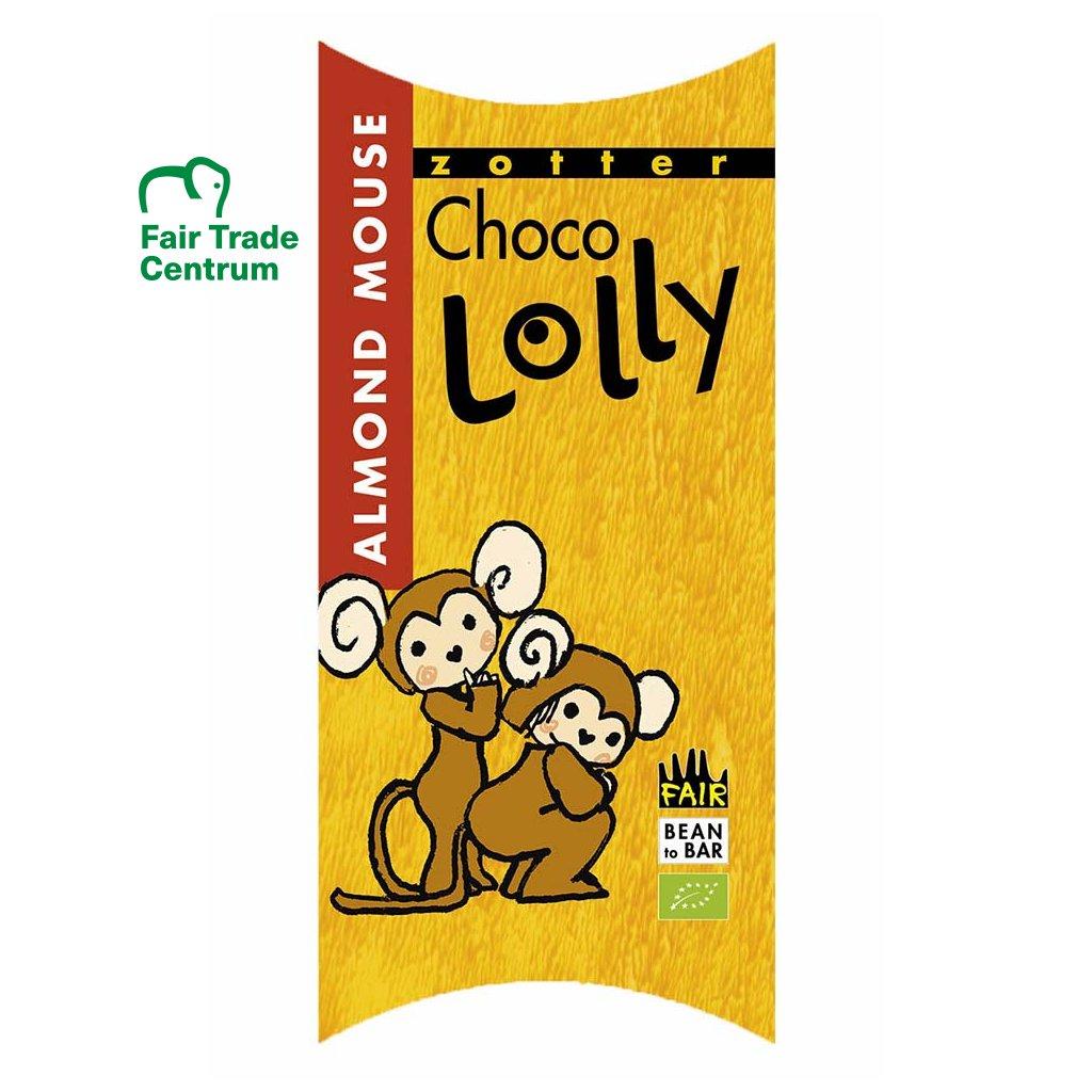 Fair trade bio čokoládové lízátko Zotter Lolly Mandlová myška