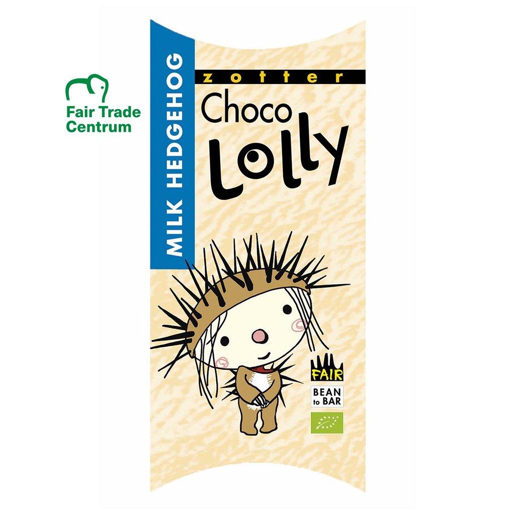 Fair trade bio čokoládové lízátko Zotter Lolly Mléčný ježek