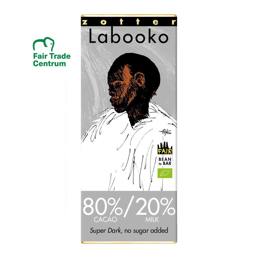 Fair trade bio mléčná čokoláda Zotter s 80 % kakaa a 20 % mléka, 65 g