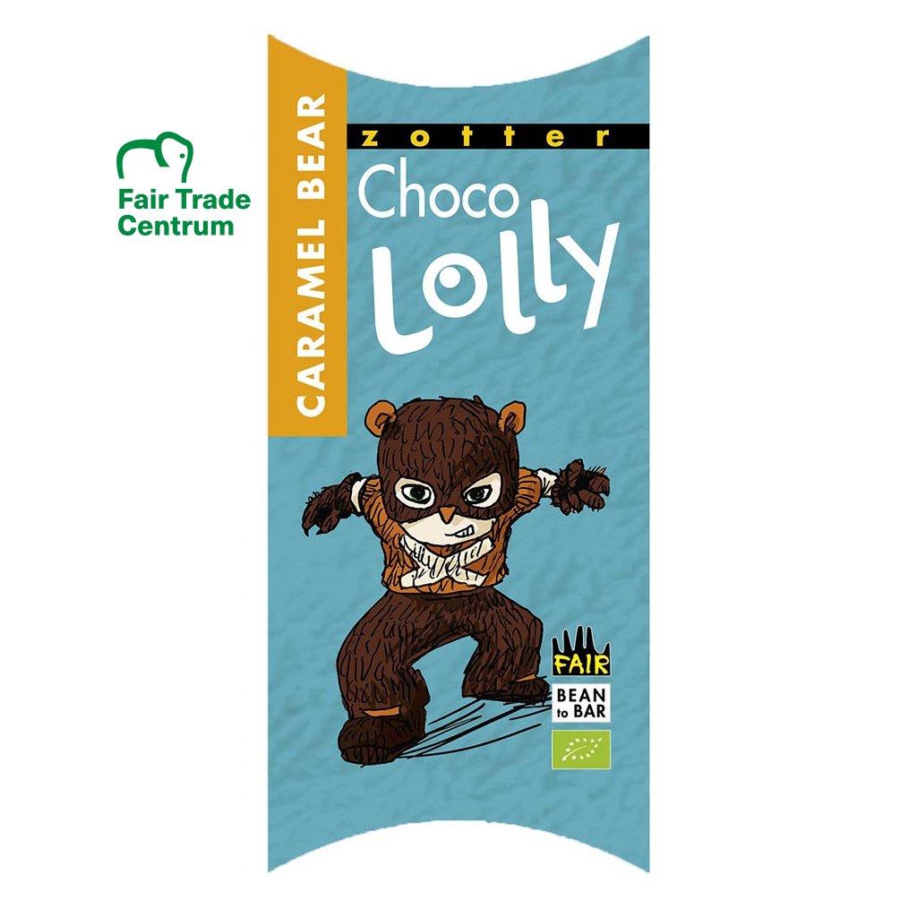 Fair trade bio čokoládové lízátko Zotter Lolly Karamelový medvěd