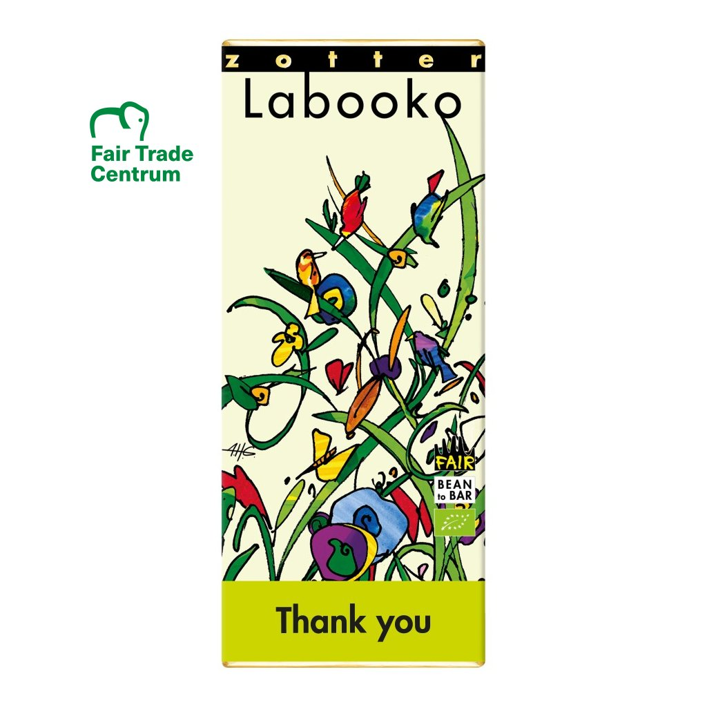 Fair trade bio čokoláda Zotter Labooko Děkuji
