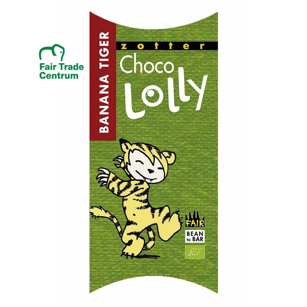 Fair trade bio čokoládové lízátko Zotter Lolly Banánový tygr