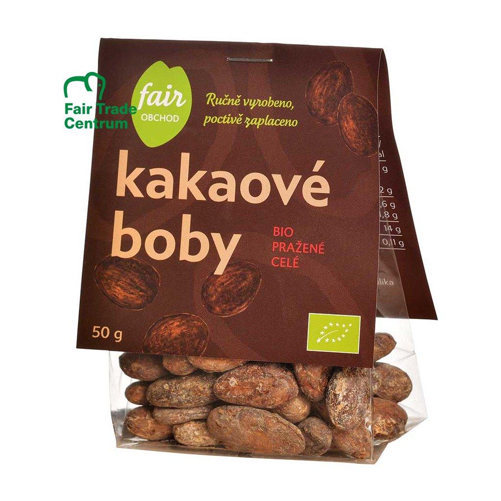 Fair trade bio pražené kakaové boby celé, 50 g