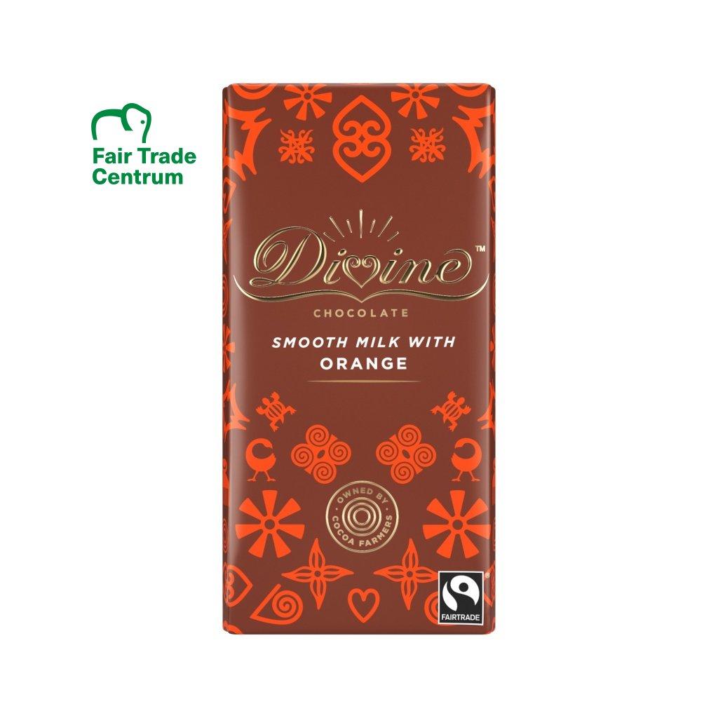 Fairtrade mléčná čokoláda s pomerančem
