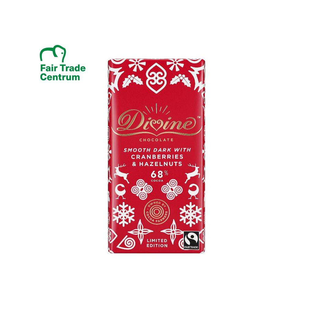 Fairtrade hořká čokoláda s brusinkami a oříšky