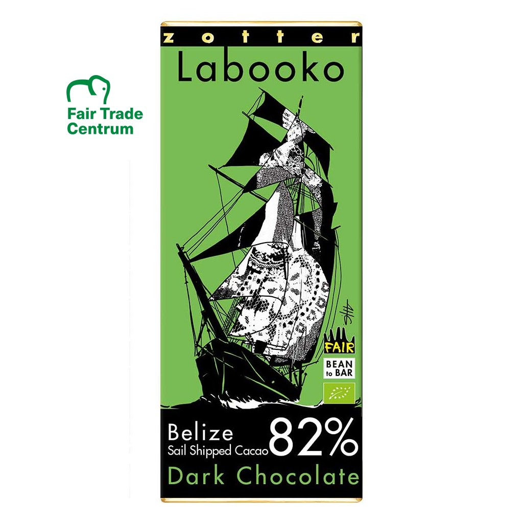 Fair trade bio hořká čokoláda Zotter Labooko Belize 82 % Sail Shipped