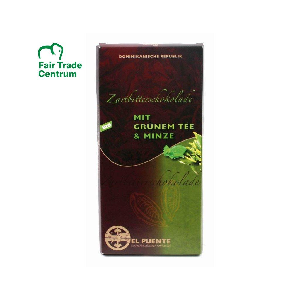 Fair Trade bio hořká čokoláda se zeleným čajem a mátou
