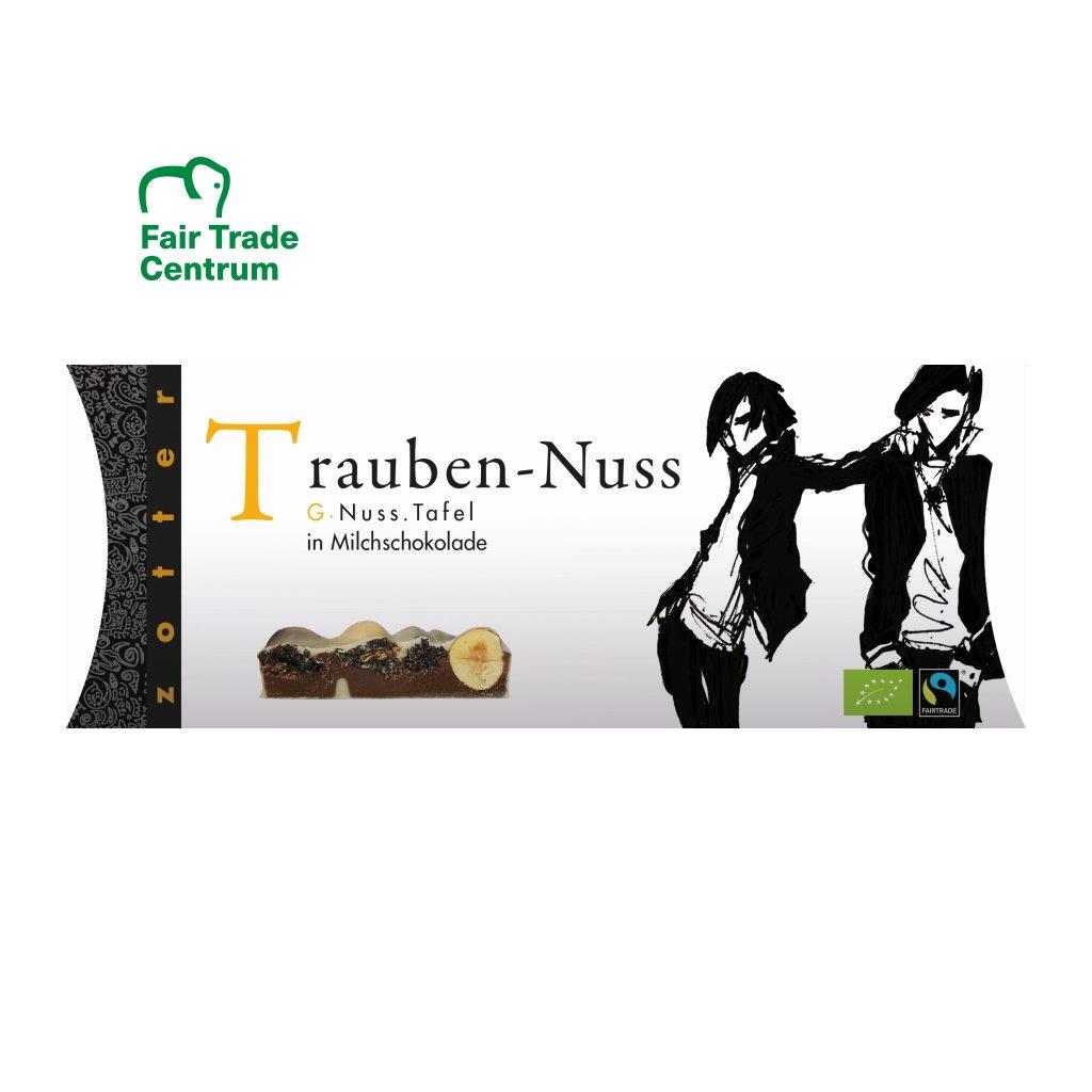 Fair Trade bio mléčná a bílá čokoláda Zotter s hrozinkami a ořechy