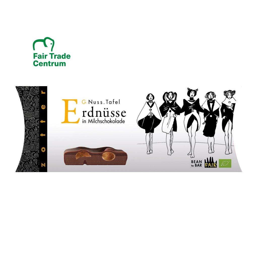 Fair Trade bio mléčná čokoláda Zotter s celými arašídy