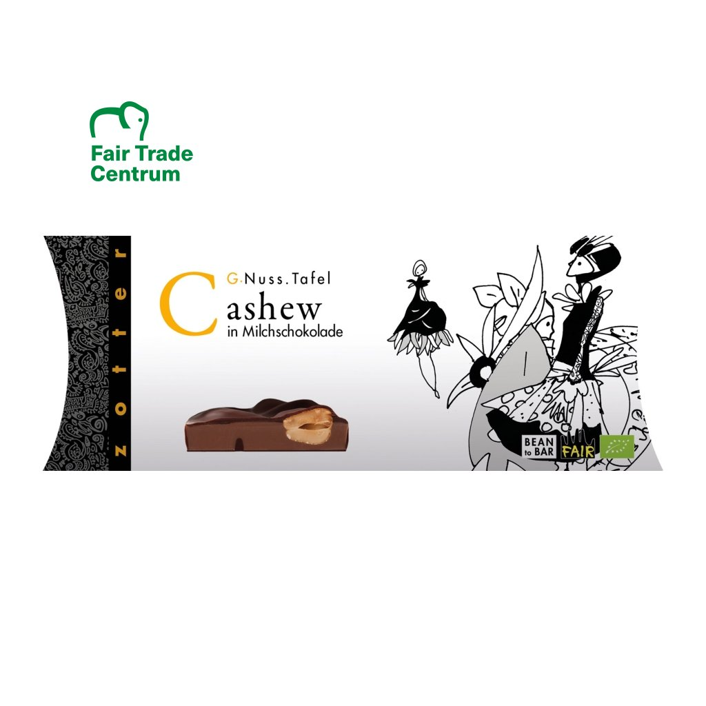 Fair Trade bio mléčná čokoláda Zotter s celými kešu ořechy