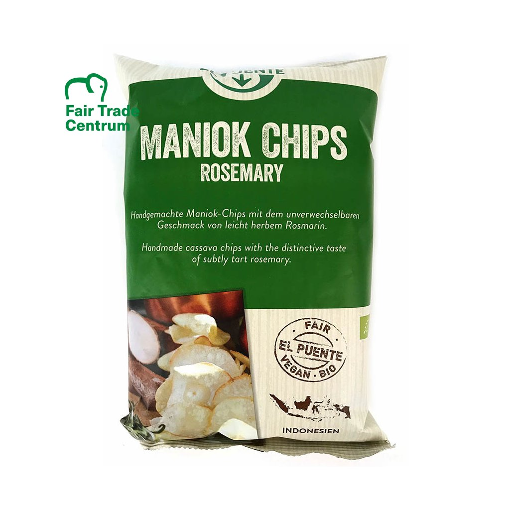 Fair Trade bio maniokové chipsy s rozmarýnem, 100 g