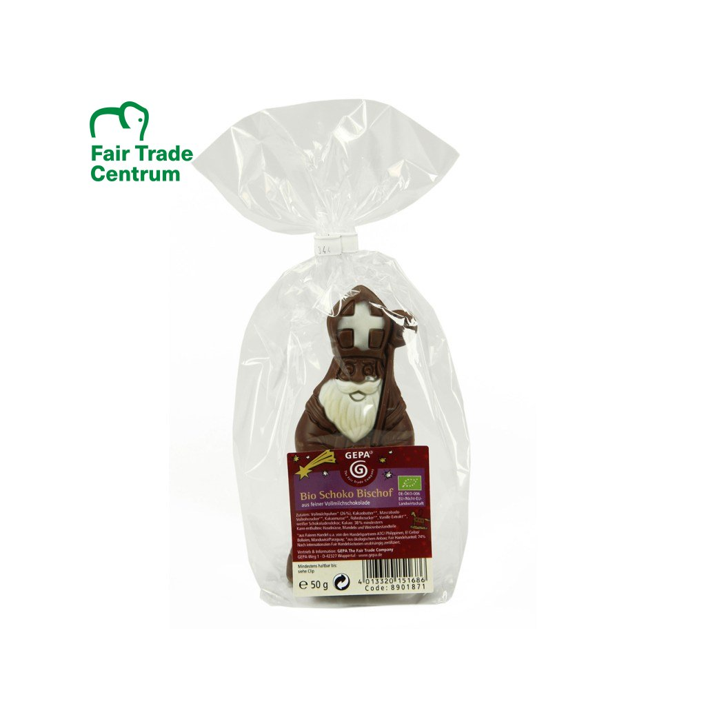 Fairtrade bio mikuláš z mléčné čokolády 38 %