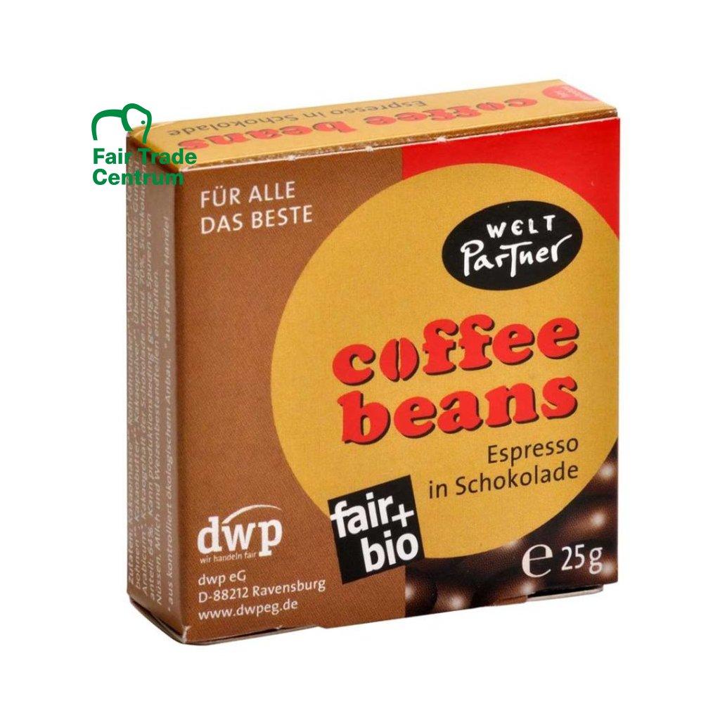 Fair Trade bio kávová zrna v hořké čokoládě, 25 g
