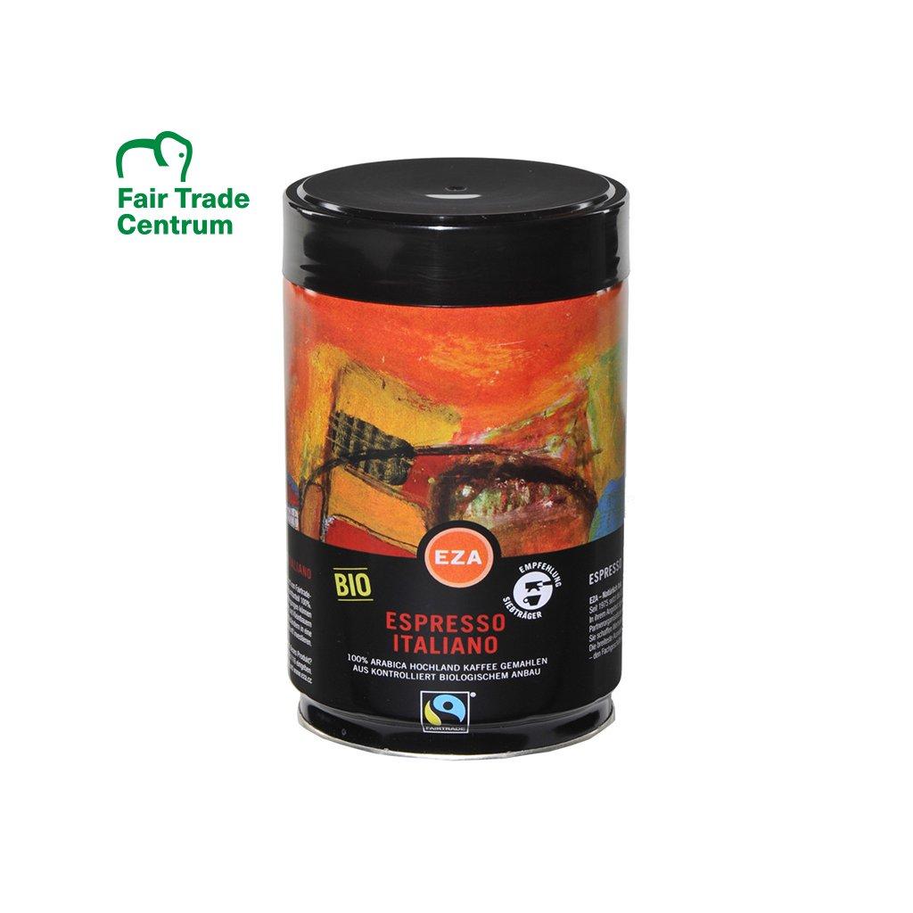 Fair Trade bio mletá káva Italské espresso v plechové dóze