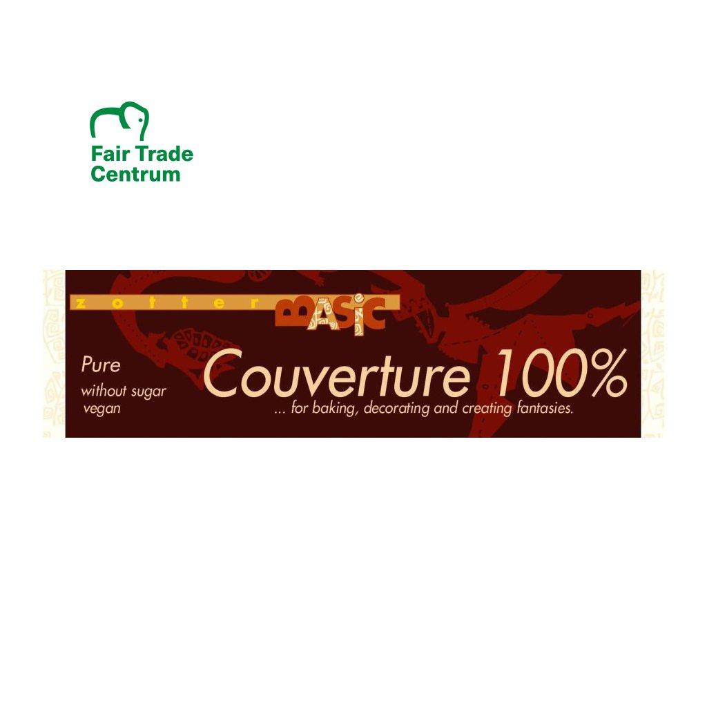 Fair Trade bio hořká couverture čokoláda Zotter 100 % kakaa, 120 g