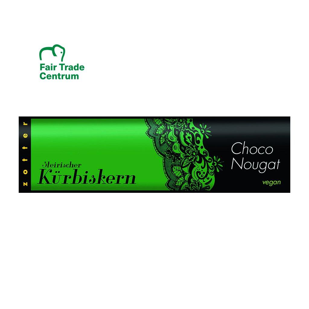 Fair Trade bio čokoládový nugát Zotter s dýňovými semínky, 130 g