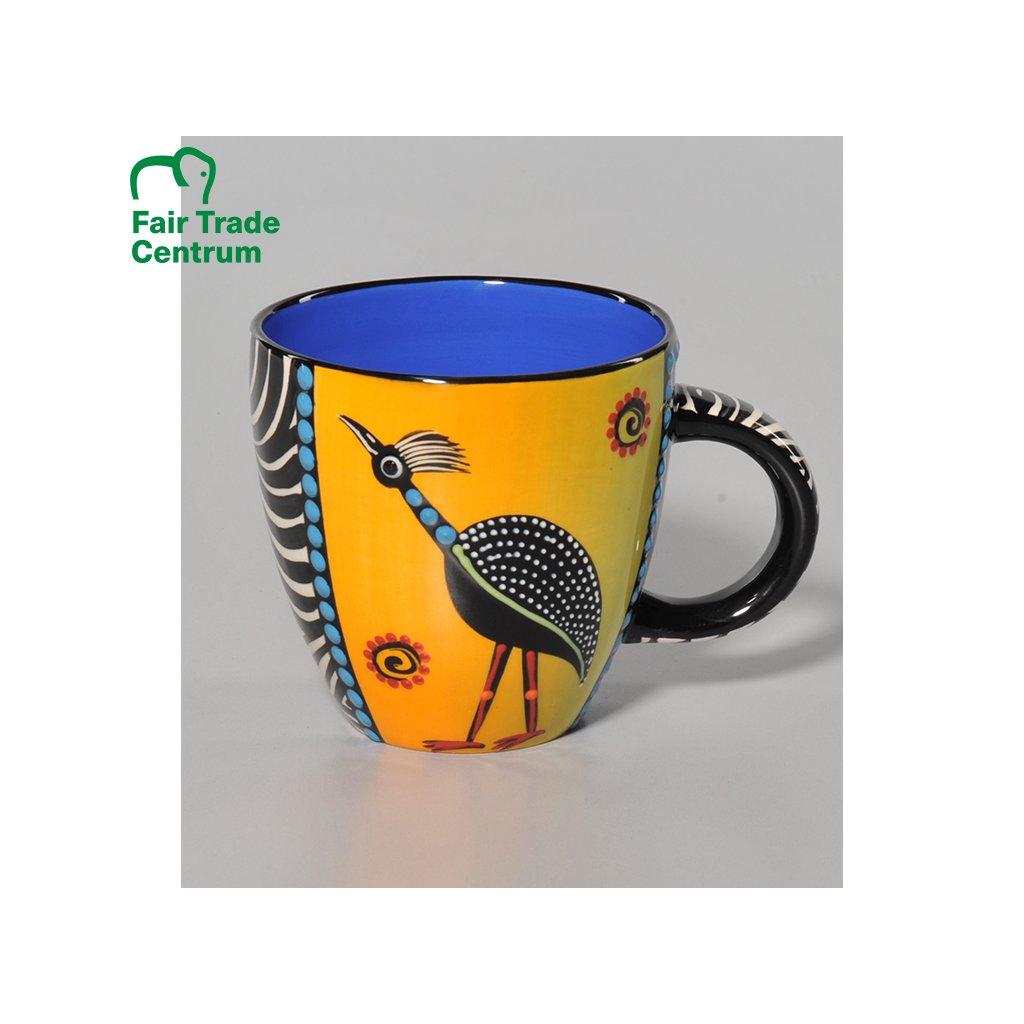 Fair Trade hrnek s jeřábem z Jižní Afriky, keramika