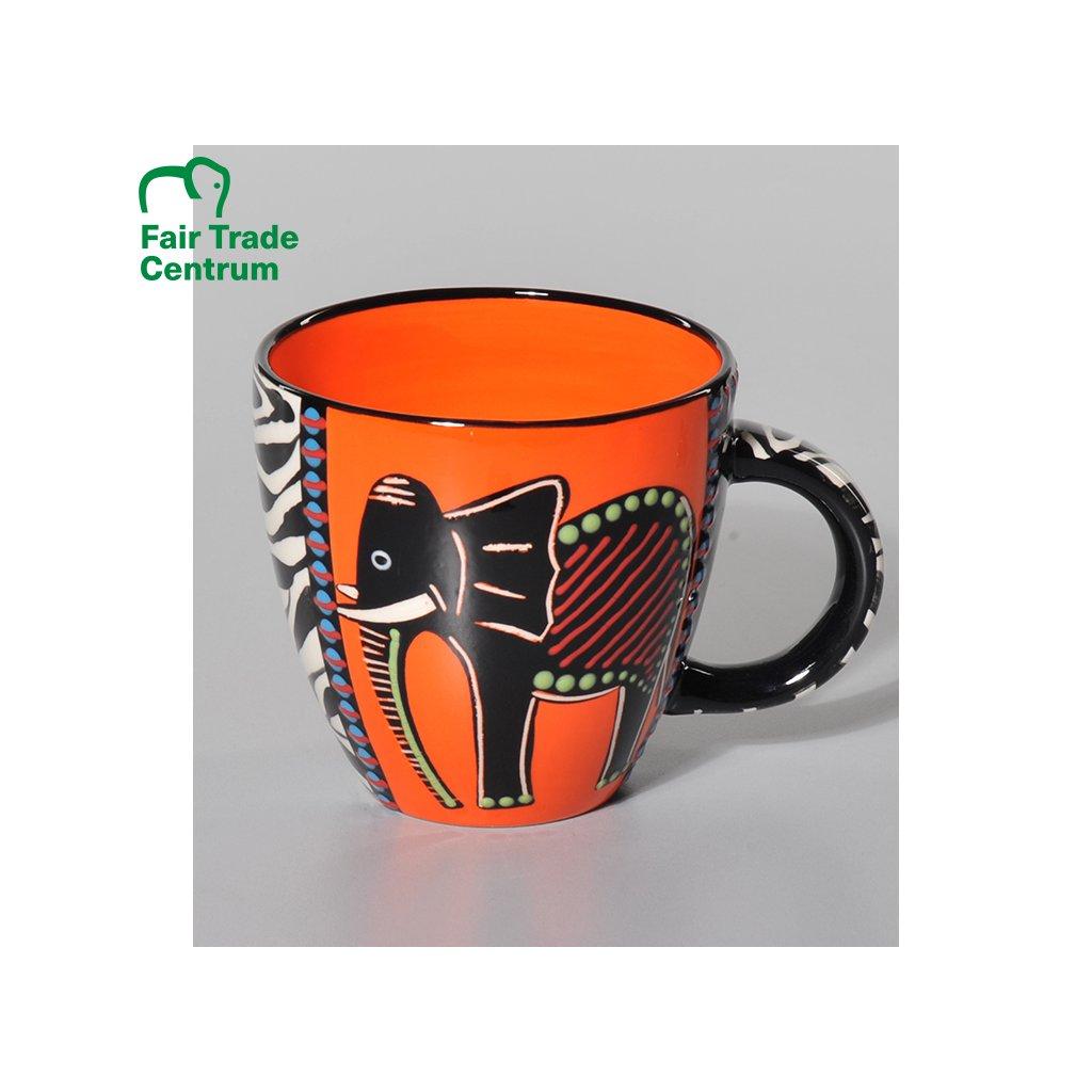 Fair Trade hrnek se slonem z Jižní Afriky, keramika