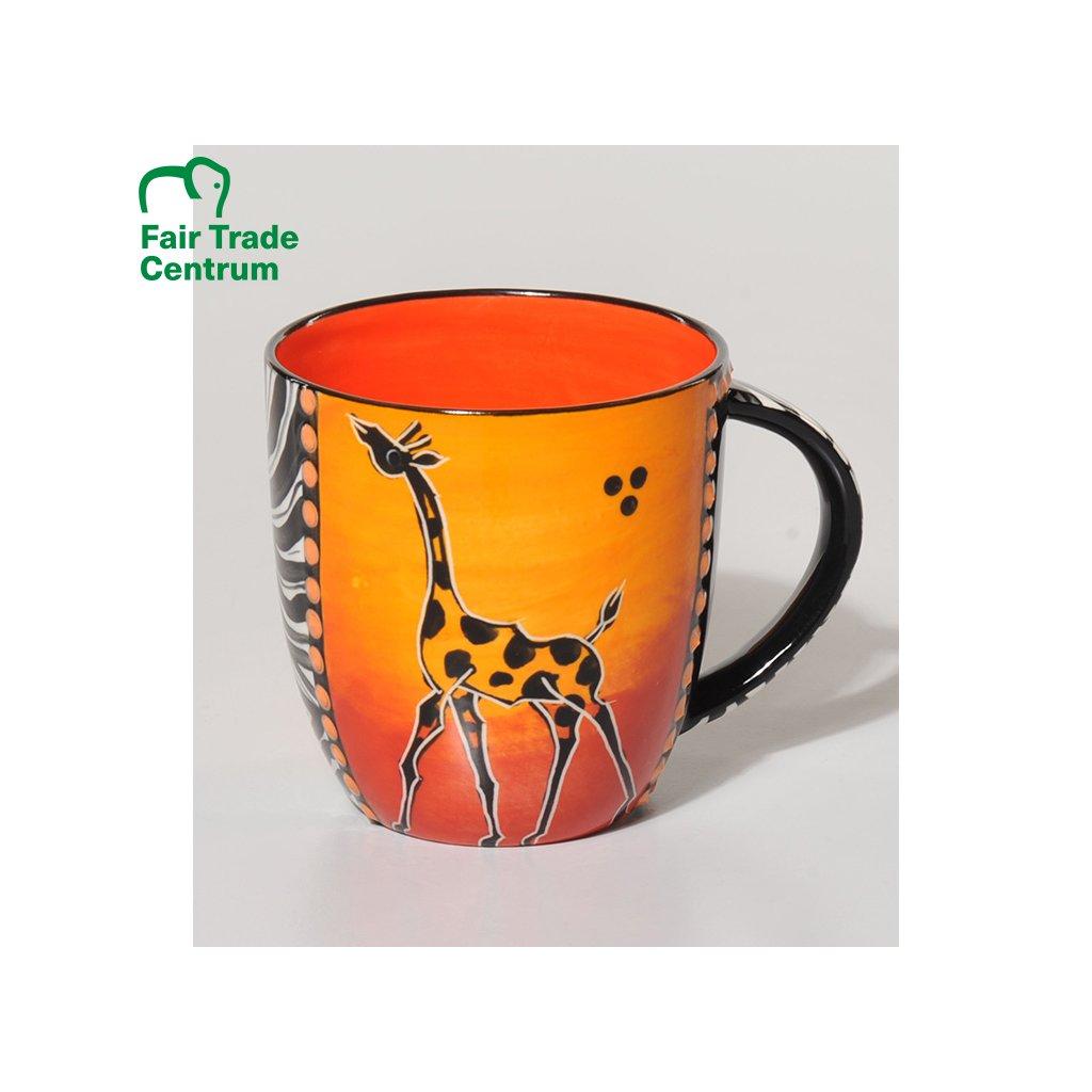 Fair Trade hrnek s žirafou z Jižní Afriky, keramika