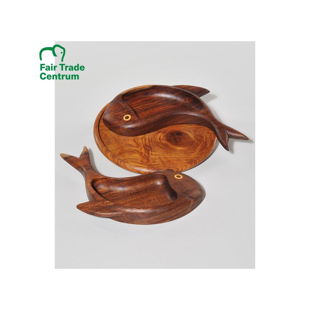 Fair Trade miska Rybky 3v1 z dřeva sheesham