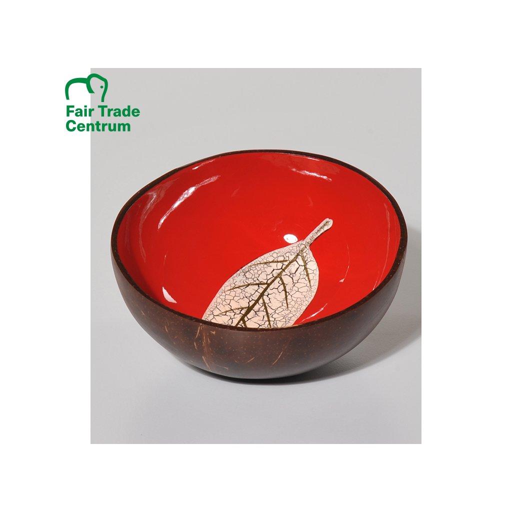 Červená Fair Trade miska z kokosu s listem, 13 cm